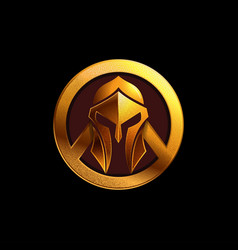 gold spartan helmet logo on black vector image