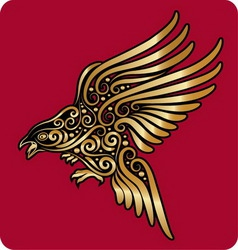 Golden bird ornament vector image