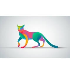 Gradient animal logo design Color cat silhouette vector image