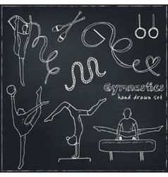 Hand drawn doodle gymnastics set vector image