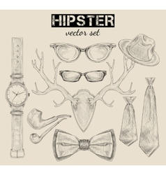 Hand drawn hipster style accessory set vector image