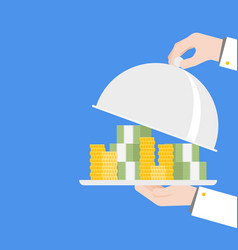 Hand serving money quick money ready to use loan vector
