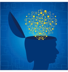 Human head emitting squares vector image