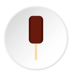 Ice cream covered with chocolate icon flat style vector