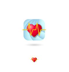 icon logo heart cardiogram web medicine vector image