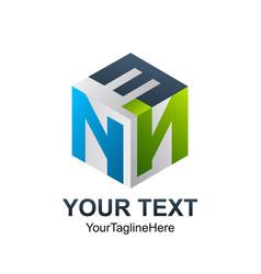 initial letter enn logo template colorful 3d vector image
