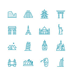 landmarks and monuments icon set vector image