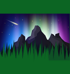 Lanscape mountain view with aurora borealis vector