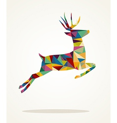 Merry Christmas contemporary triangle reindeer vector image