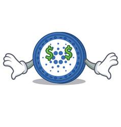 money eye cardano coin character cartoon vector image