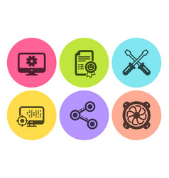 monitor settings seo and share icons set vector image
