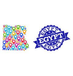Mosaic map of egypt with map markers and textured vector