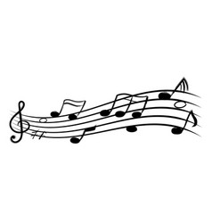 music notes doodle flowing stave black silhouette vector image