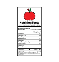 Nutrition facts apple vector