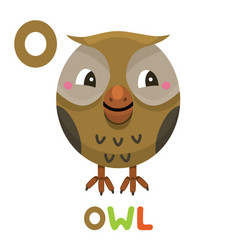 o is for owl letter o owl cute animal alphabet vector image