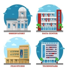 Observatory building and movie studio architecture vector image