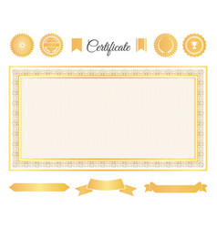 Official certificate gold decorative elements set vector