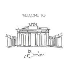 One continuous line drawing brandenburg gate vector