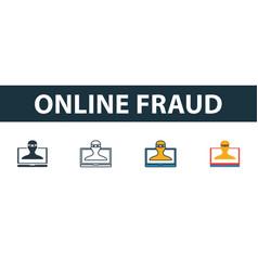 Online fraud icon set premium symbol in different vector