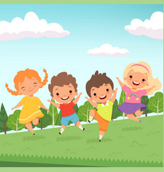 party jummping characters cute happy children vector image