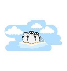 Penguin cute animals in cartoon style wild animal vector