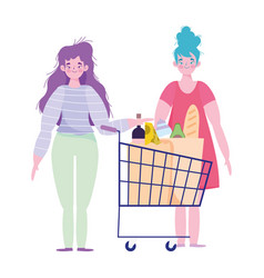 People hoarding purchase young women vector