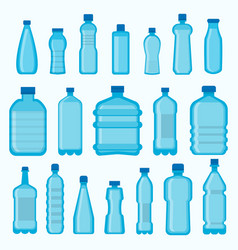 Plastic bottles isolated icons set vector