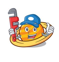 Plumber planet saturnus mascot cartoon vector