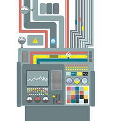 Production system control panel with buttons and vector
