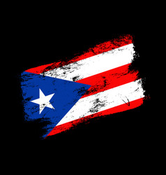 puerto rico flag grunge brush background old vector image