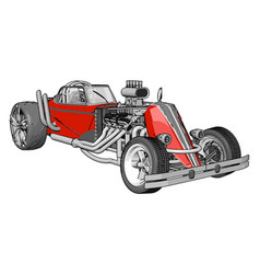 red retro racing car on white background vector image