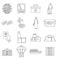 Refugees problem icons set outline style vector