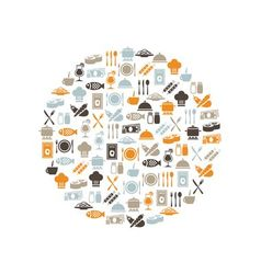 Restaurant icons in circle vector