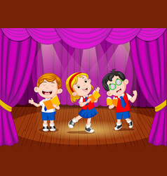 School children singing on the stage vector