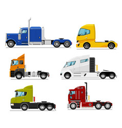 Semi truck set isolated traction unit rig vector