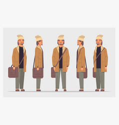 set casual man front side view male character vector image