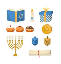 Set happy hanukkah traditional celebration vector