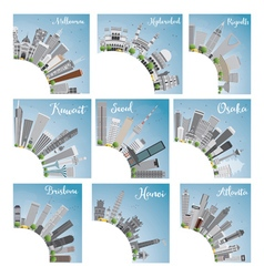 Set of 9 City Skyline with Copy Space vector image