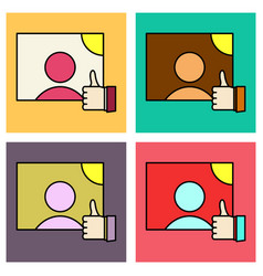 Set of symbol of finger up thumb up in flat style vector