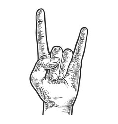 sign of horns hand gesture sketch engraving vector image