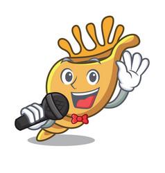 singing exotic shell mascot cartoon vector image