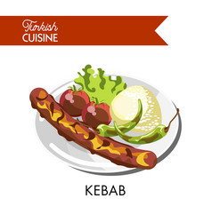 Tasty juicy kebab with roasted vegetables and rice vector