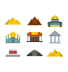temple icon set flat style vector image