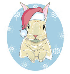 the christmas poster with the image rabbit vector image