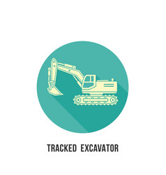 tracked excavator silhouette with shadow icon on vector image