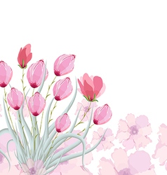 Tulips original watercolor painting vector
