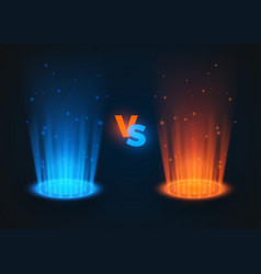 versus glowing spotlight red and blue colors vs vector image