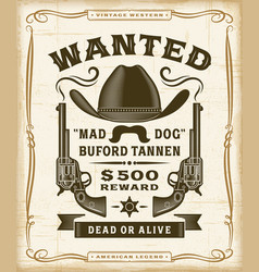 vintage western wanted label graphics vector image