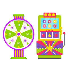 wheel fortune and colorful slot machine vector image