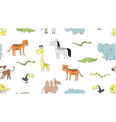 wild animal pattern doodle snake leo and tiger vector image
